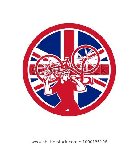 İngilizler bisiklet mekanik İngiliz bayrağı bayrak maskot Stok fotoğraf © patrimonio