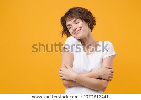 ストックフォト: 肖像 · かなり · 小さな · ブルネット · 着用 · 白