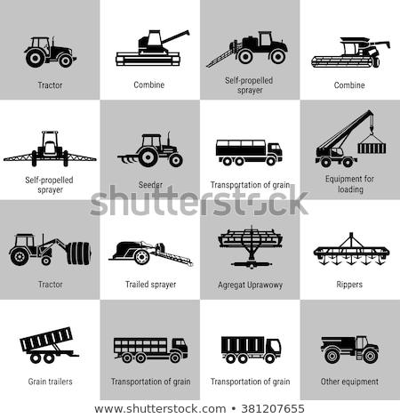 Tahıl kamyon makinalar ikon yalıtılmış vektör Stok fotoğraf © robuart