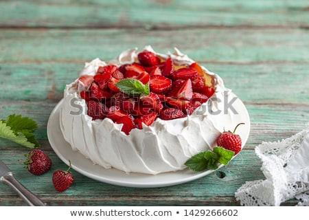 Pavlova cake with strawberry ストックフォト © YuliyaGontar