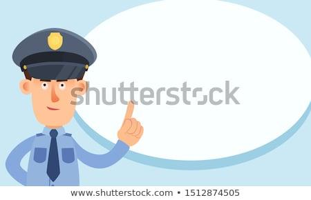 полиции указательный палец вверх комического Cartoon Поп-арт Сток-фото © rogistok