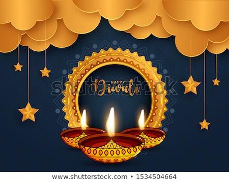 Feliz diwali festival bandeira azul cor Foto stock © SArts