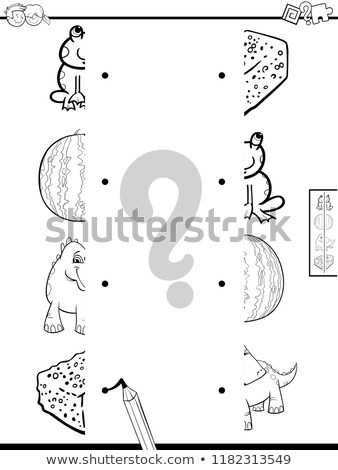 matching shapes game with dragons color book Stock photo © izakowski
