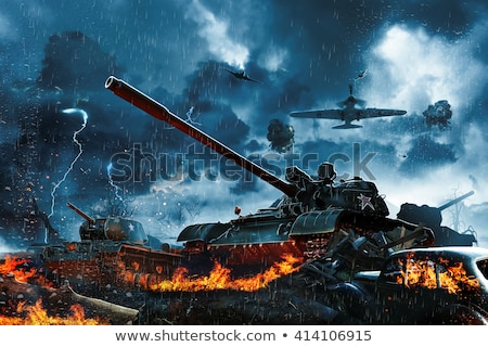 Military tank in fire Stock photo © jossdiim