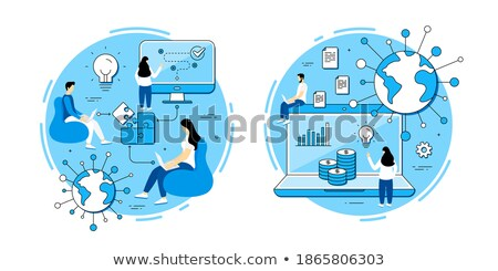 Startup People with Puzzles, Teamwork Web Set Stock photo © robuart