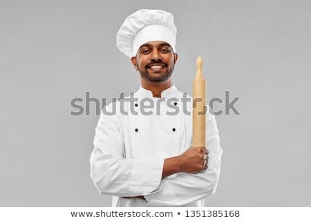 Boldog férfi indiai szakács pék főzés Stock fotó © dolgachov