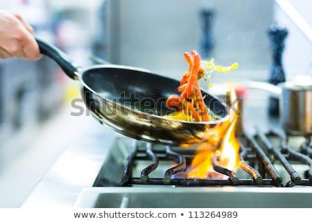 シェフ ストーブ 料理 レストラン キッチン オリーブオイル ストックフォト © Kzenon