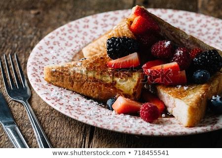 Rusztikus francia pirítós reggeli kényelem étel Stock fotó © zkruger