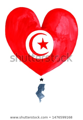 Bandeira Tunísia forma coração amor Foto stock © butenkow