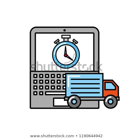 ноутбука грузовика часы время бизнеса Сток-фото © yupiramos