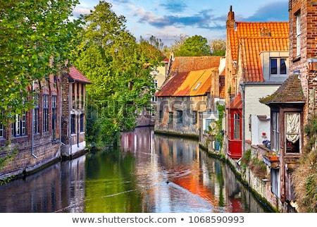 Város kilátás Belgium öreg házak csatorna Stock fotó © dmitry_rukhlenko