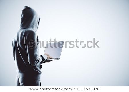 Mysterieus hacker online aanval stoppen opschrift Stockfoto © ra2studio