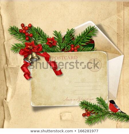 古い ヴィンテージ はがき ツリー フルーツ 雪 ストックフォト © Alkestida