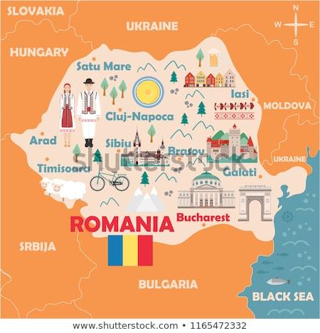 Stock fotó: Romania · utazás · térkép · lökés · üzlet · terv