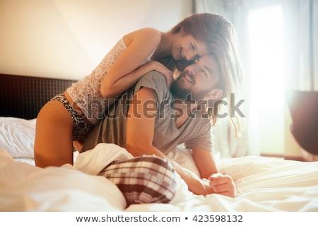 romantik · çift · gülen · üstsüz - stok fotoğraf © stryjek