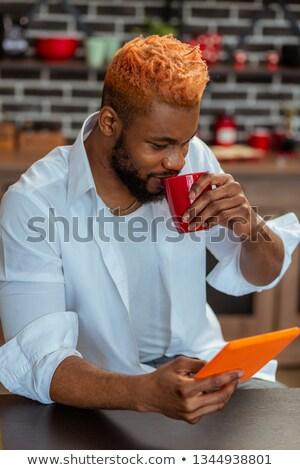 Altijd genieten mooie beker koffie vrouw Stockfoto © photography33