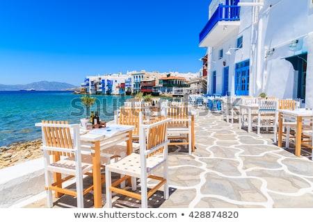 playa · puesta · de · sol · la · exposición · a · largo · mar · isla · Grecia - foto stock © magann