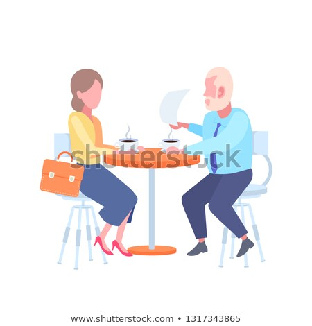 Young woman reads document in white chair Stock photo © pzaxe