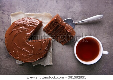 cup of tea and chocolate cake stock photo © inxti