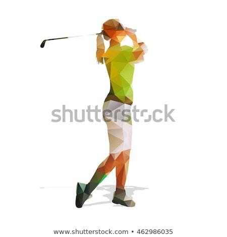 menina · jogador · de · golfe · ao · ar · livre · retrato · mulher · golfe - foto stock © goce