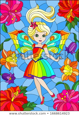 beauty blond girl with rainbow lily Stock photo © carlodapino