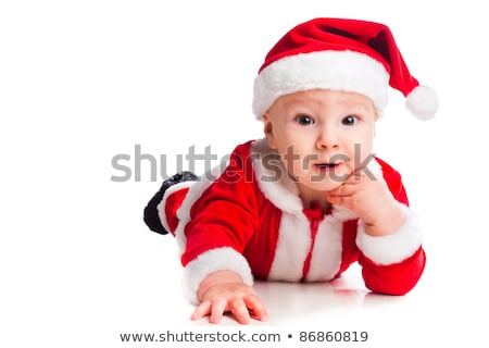 Portrait of little cute baby in red suite of Santa  isolated Stock photo © luckyraccoon