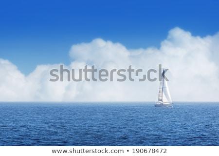 kék · nyár · víz · égbolt · vitorlás · verseny - stock fotó © lunamarina