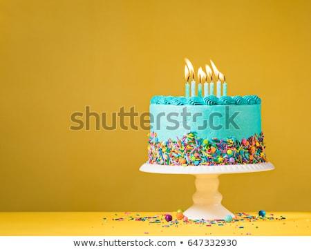 Blauw ingericht cake hartvorm marsepein witte Stockfoto © Anterovium