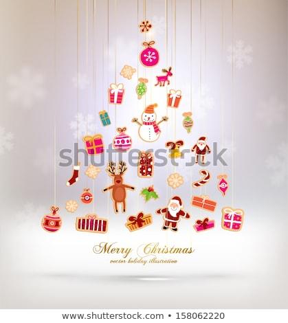 Karácsonyfa címke papír absztrakt terv háttér Stock fotó © oly5