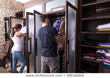 Człowiek ubieranie się kobieta sukienka funny młodych Zdjęcia stock © Elnur