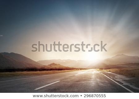 blanco · línea · asfalto · carretera · nubes · árbol - foto stock © thisboy