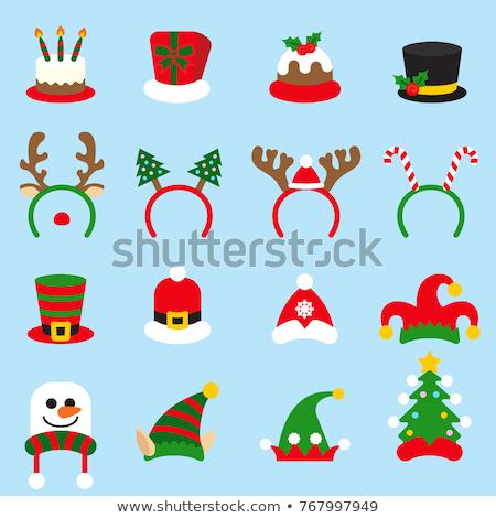 Karácsony ikonok zöld stock vektor hó Stock fotó © punsayaporn