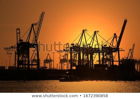 the hamburg harbour at sunset stock photo © elxeneize