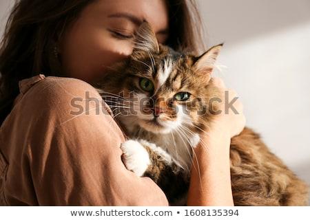 glimlachende · vrouw · knuffelen · kat · glimlachend · jonge · vrouw - stockfoto © stokkete