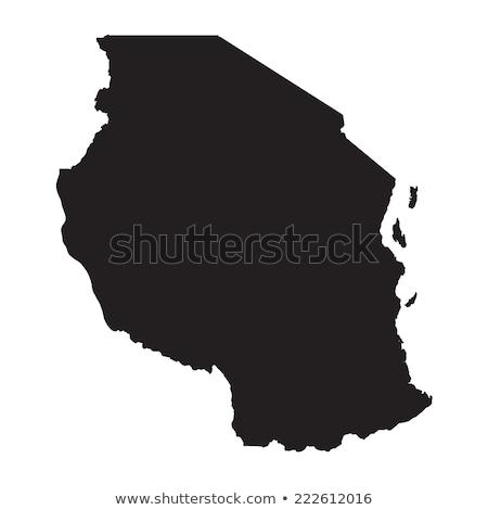 Karte Tansania Reise schwarz Vektor Stock foto © rbiedermann