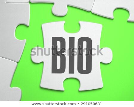 Bio puzzel plaats vermist stukken tekst Stockfoto © tashatuvango
