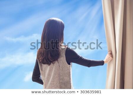 Vrouw hemel huis venster portret Stockfoto © roboriginal