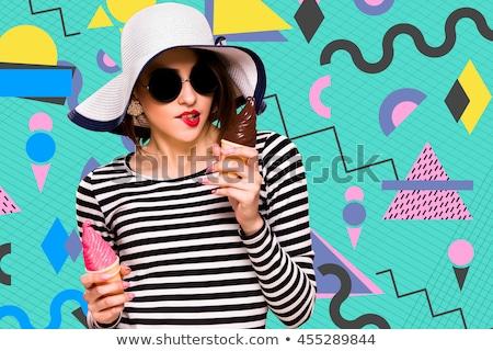Menina ciano blusa suporte branco mulher Foto stock © Paha_L