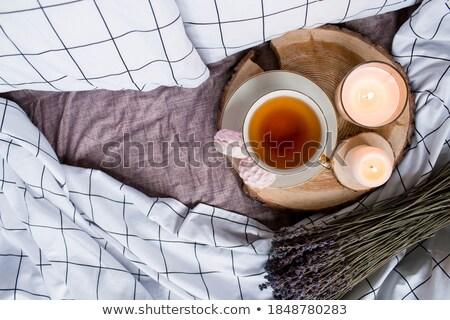 Guimauve tasse lavande blanche bois alimentaire Photo stock © vlad_star