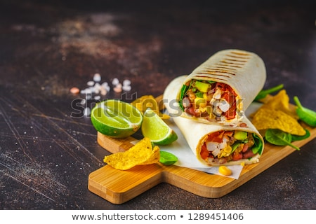 Photo stock: Chicken And Beef Meat With Red Bean Salad
