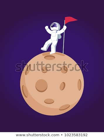 A man in the outerspace with a banner Stock photo © bluering