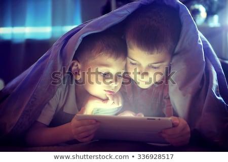 Stock fotó: Kettő · gyerekek · pléd · illusztráció · gyermek · háttér