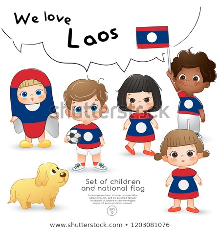 Dziewczyna shirt banderą ilustracja uśmiech Zdjęcia stock © bluering