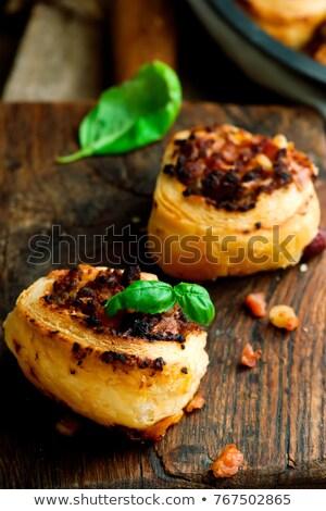 bacon cheeseburger pizza pinwheels selective focus stock photo © zoryanchik