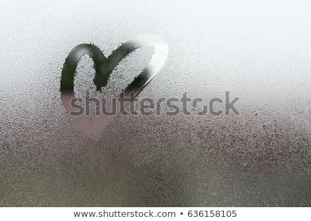 draw heart on rain water drops bokeh Stock photo © romvo
