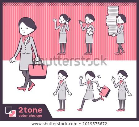 Tipo cabine escritório mulheres corrida terno Foto stock © toyotoyo
