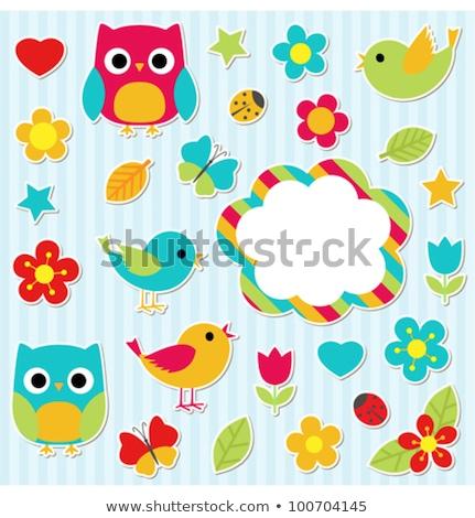 Kék rajz katicabogár ikon vektor illusztráció Stock fotó © cidepix