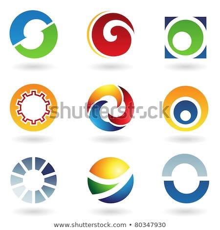 Stock photo: Striped Orange Icon for Letter O Vector Illustration