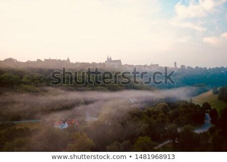 Panoramę mgły rano ulicy kościoła podróży Zdjęcia stock © LianeM