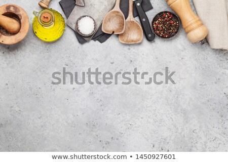 koken · ingrediënten · keuken · tools · witte · voedsel - stockfoto © dash